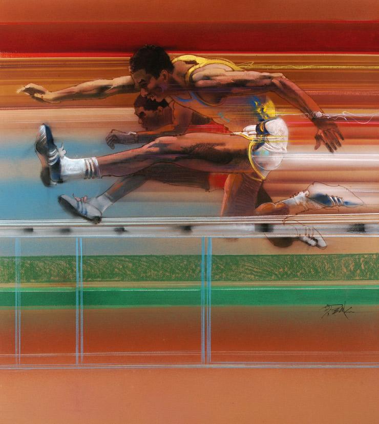 Bob Peak Olympic Hurdles orig art