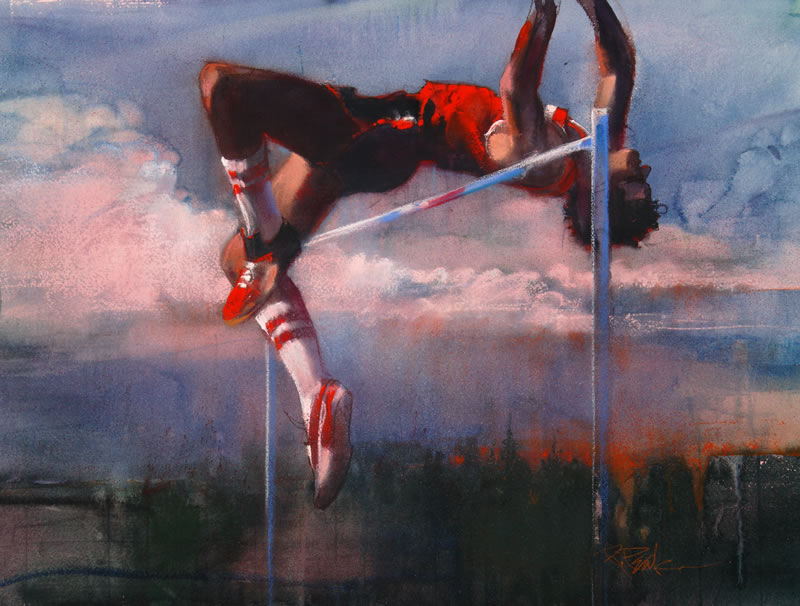 Olympic High Jump Dick Fosbury, painting by Bob Peak