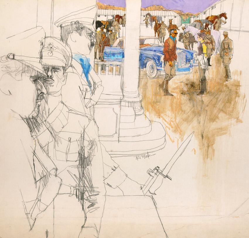 Safari with the Shaw, original BOB PEAK illustration