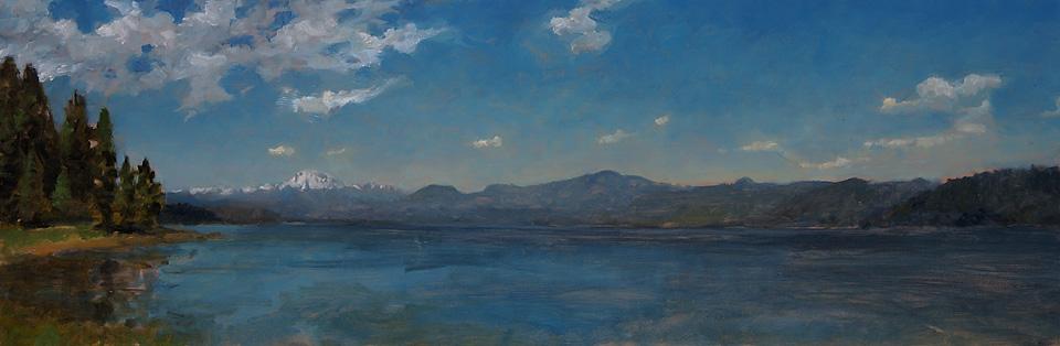 Lake Almanor-Mnt Lassen Plein air by Matthew Joseph Peak