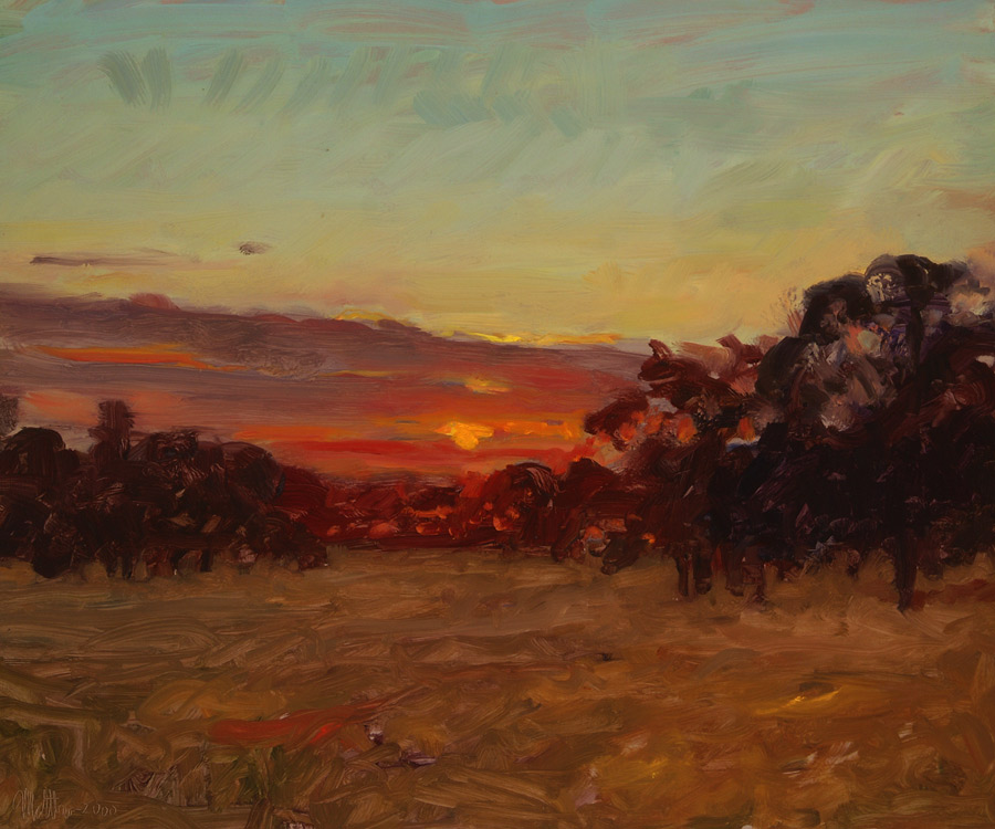 Bell Road Sunset by Matthew Joseph Peak, California plein air landscape painting